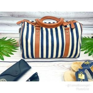 Street Level nautical canvas zip top tote